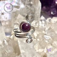 Lepidolite Sterling Silver Wire Wrapped Ring